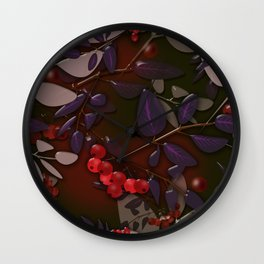 Seamless pattern with colorful autumn leaves and rowanberry on black glassy effect Wall Clock
