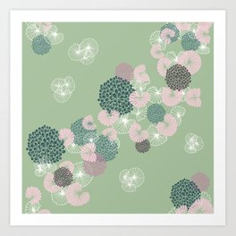 Floral Seamless Pattern on Green Art Print
