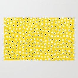 White Yellow Spring Flower Pattern Rug
