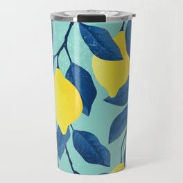Vintage yellow lemon on the branches with leaves and blue sky hand drawn illustration pattern Travel Mug
