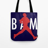 obama Tote Bags featuring Obama Jumpman by Michael Rosenfeld