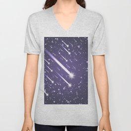 Flying meteors. Ultra violet. Unisex V-Neck