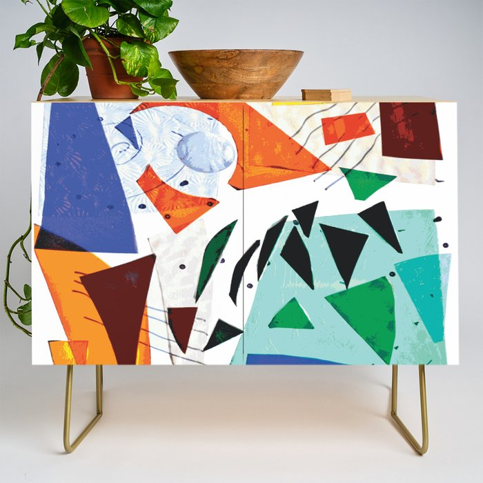 Composition in Orange and Blue Credenza
