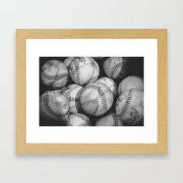 Baseballs in Black and White Framed Art Print