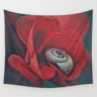 snail Wall Tapestries featuring Snail by pf_photography