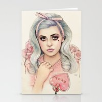 marina and the diamonds Stationery Cards featuring L.O.V.E | E.V.O.L by Helen Green