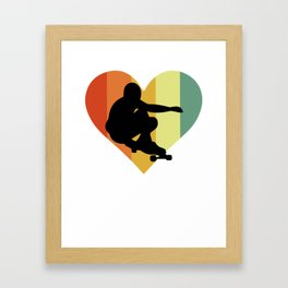Vintage Longboarding Heart Design Framed Art Print