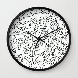 Sketches II Homage to Keith Haring Wall Clock