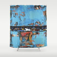Stallion Blue Modern Painting Abstract Art Landscape Shower Curtain