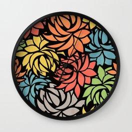 Stylized Dahlia Pattern Wall Clock