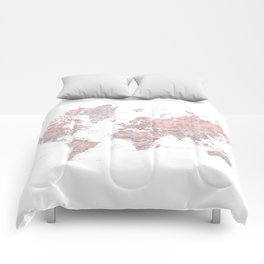 Gray and dusty pink detailed world map Comforters