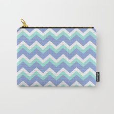 Blue Green Chevron Carry-All Pouch