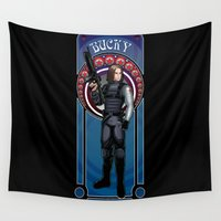 winter soldier Wall Tapestries featuring Bucky the Winter soldier by Studio Kawaii