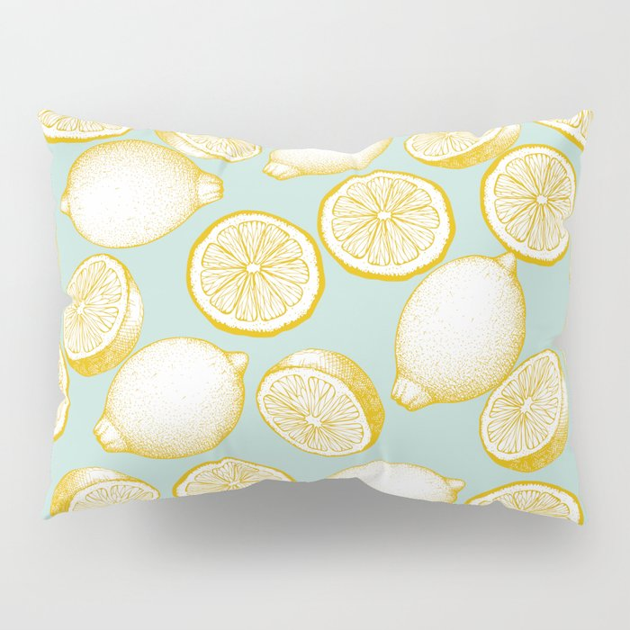 Lemons On Turquoise Background Pillow Sham