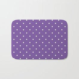 Small White Polka Dots with Purple Background Bath Mat
