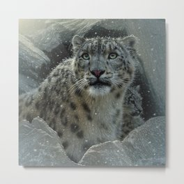 Snow Leopard - The Fortress Metal Print