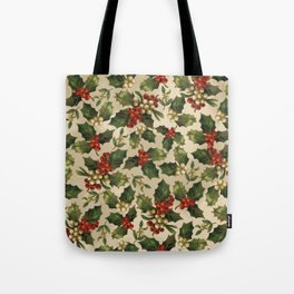 Gold and Red Holly Berrys Tote Bag