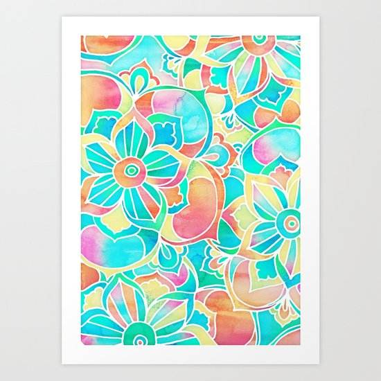 Sunsets & Cocktails - bright pastel watercolor floral design Art Print