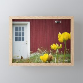 White Door on a Red Wall Framed Mini Art Print