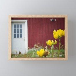 White Door on a Red Wall Framed Mini Art Print