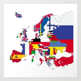 Europe flags white Art Print