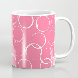 Circles Geometric Pattern Pink Bright White Coffee Mug