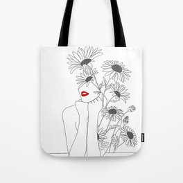 Minimal Line Art Girl with Sunflowers Tote Bag