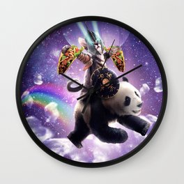 Lazer Warrior Space Cat Riding Panda With Taco Wall Clock