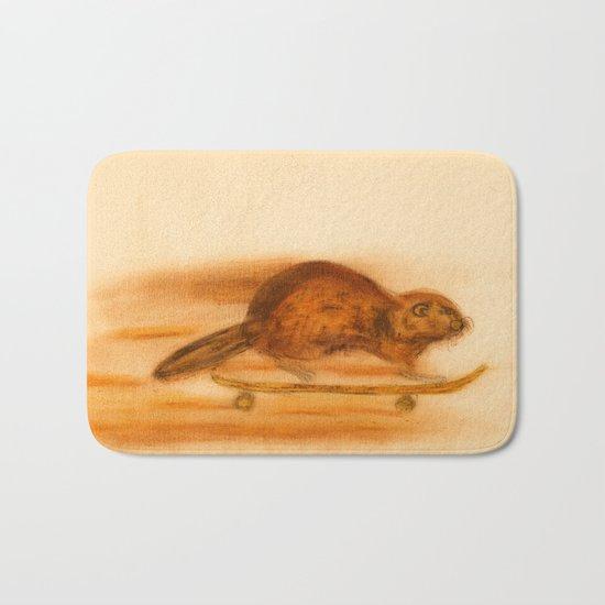 Rider  - Beaver skateboarder Bath Mat