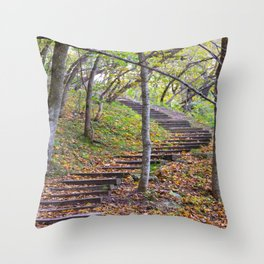 Stairway into the Woods Throw Pillow