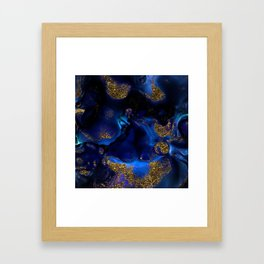 Gold and Indigo Malachite Marble Framed Art Print