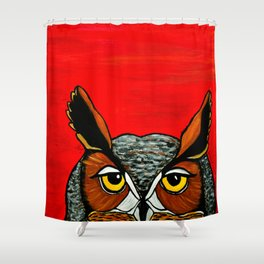 Peaking - Great Horned Owl Shower Curtain