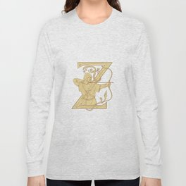 Medieval Archer Aiming Bow and Arrow Letter Z Drawing Long Sleeve T-shirt