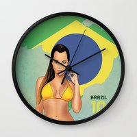 brazil Wall Clocks featuring Brazil by Kingdom Of Calm - Print On Demand