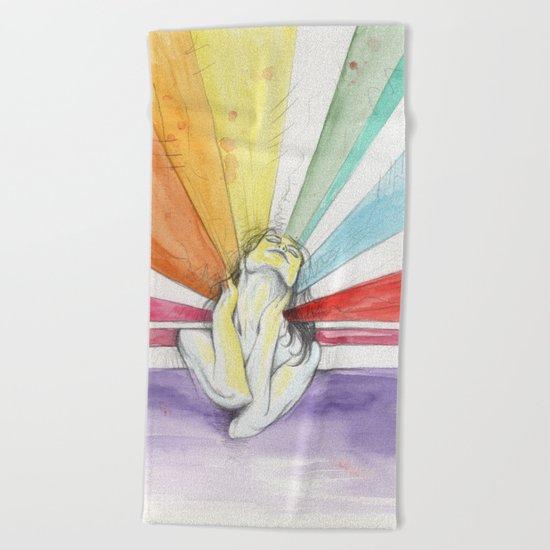 rainbow ecstasy Beach Towel
