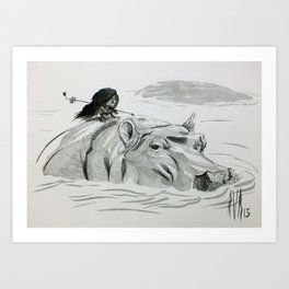 Fire and Hippo Art Print