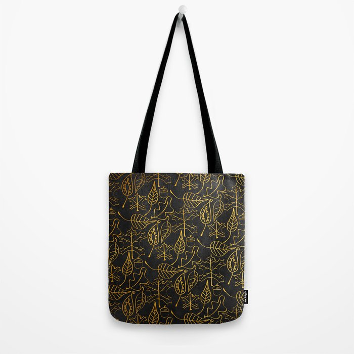 AUTUMN 1 - gold leaves on chalkboard background Tote Bag