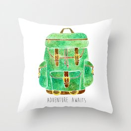 Backpack Adventure Throw Pillow