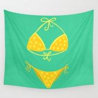 bikini Wall Tapestries featuring Yellow Polka Dot Bikini on Mint by Cat Coquillette