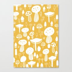 Forest Mushrooms Yellow Canvas Print