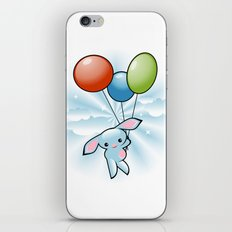 Cute Little Blue Bunny Flying With Balloons iPhone & iPod Skin