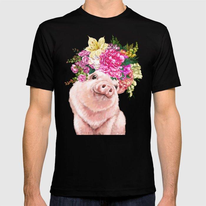 Flower Crown Baby Pig T-shirt