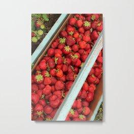 Flat of Ripe Red Strawberries Metal Print
