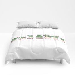 Happy succulent cactuses Comforters