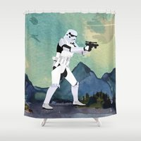 motivational Shower Curtains featuring Lab No.4 -Stormtrooper Movie Motivational Quotes Poster by Lab No. 4