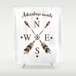 Cardinal directions Compass Arrows Adventure awaits Typography Shower Curtain