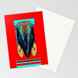 Crow-Ravens Family Red Southwest Style Abstract Stationery Cards