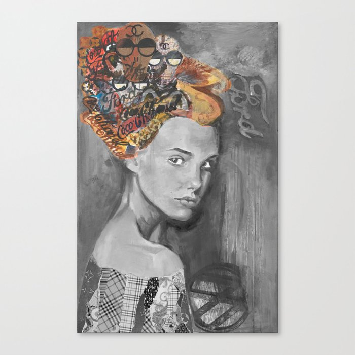Dame black and white  Canvas Print