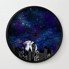 Starry Skyline Neck Gator Full Moon City Skyline Wall Clock