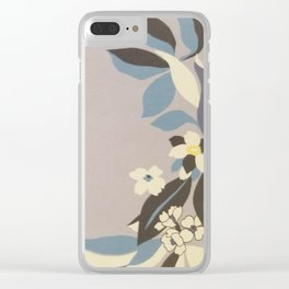 Lavender Border Flowers Clear iPhone Case